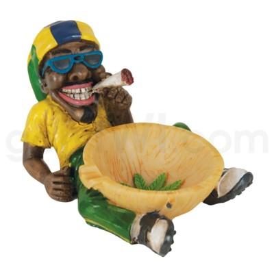 Ashtray Polystone Jamaican Leaf w/ Bowl 36/cs