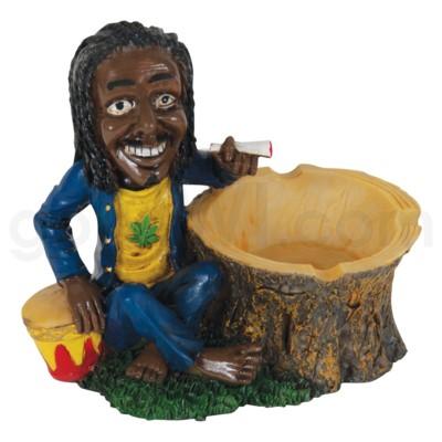 Ashtray Polystone Jamaican w/ Drum & Tree 36/cs