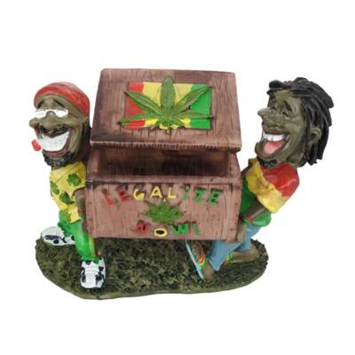 Ashtray Polystone Jamaican Friends Holding Box  36/cs