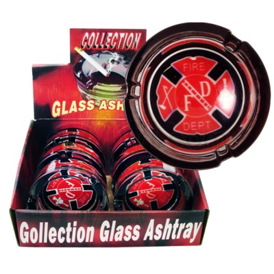 Ashtray Glass Display Fire Design  6/6/36
