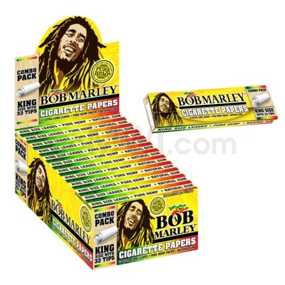 Bob Marley Rolling Paper w/ Tips XL Leaves 33/pk 24/bx