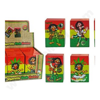 DISC Cigarette Box Kings Tin Rasta Design 12PC/BX