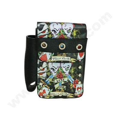 DISC Cigarrette Box Tattoo PU Leather w/ Lighter Holder