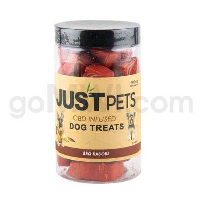 JUST CBD 100mg Dog Treat Jars Pet BBQ Kabobs