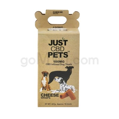 JUST CBD 100mg Dog Treat Jars Pet Cheese Wraps