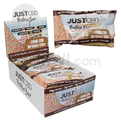 Just CBD 25MG Protein Bar - Birthday Cake 12ct