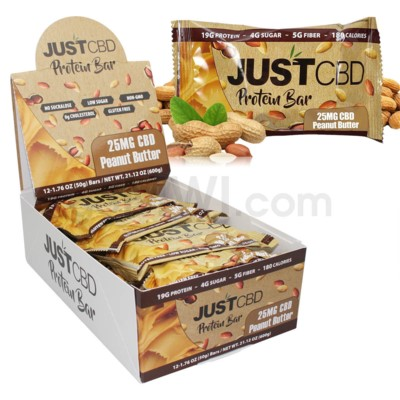 Just CBD 25MG Protein Bar - Peanut Butter 12ct
