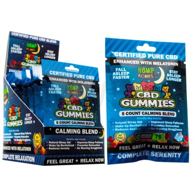 Hemp Bombs CBD Gummies w/ Melatonin 5ct 75mg 12/bx 18bx/cs