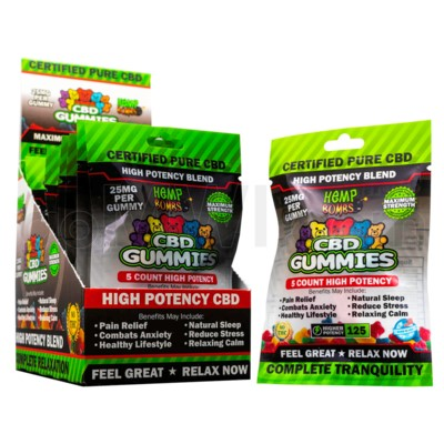 Hemp Bombs CBD Gummies High Potency 5ct 125mg 12/bx 36bx/cs