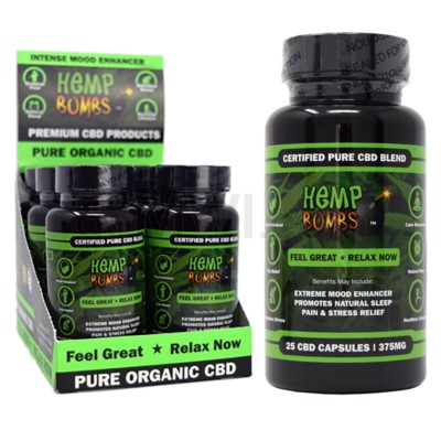 Hemp Bombs CBD Capsules 25ct 375mg 6/bx 18bx/cs