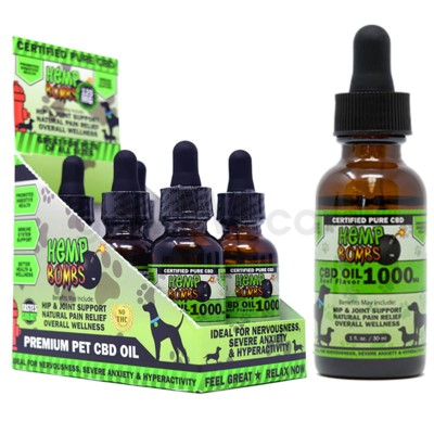 Hemp Bombs CBD Pet Oil 1oz 1000mg BEEF 6/bx 6bx/cs