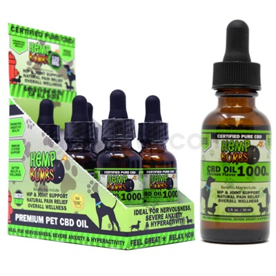 Hemp Bombs CBD Pet Oil 1oz 1000mg CHICKEN 6/bx 6bx/cs