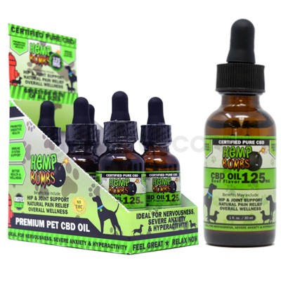 Hemp Bombs CBD Pet Oil 1oz 125mg BEEF 6/bx 18bx/cs