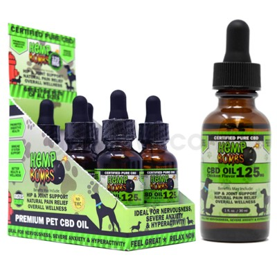 Hemp Bombs CBD Pet Oil 1oz 125mg CHICKEN 6/bx 18bx/cs