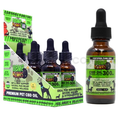 Hemp Bombs CBD Pet Oil 1oz 300mg CHICKEN 6/bx 18bx/cs