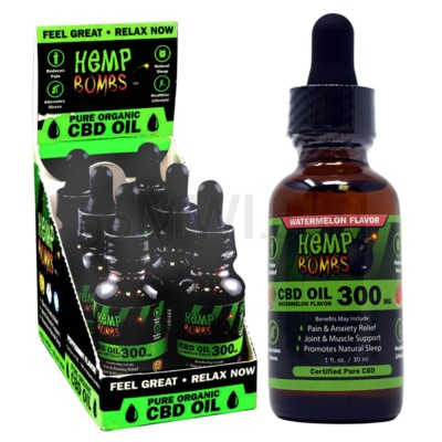 Hemp Bombs CBD Tincture 1oz 300mg WATERMELON 6/bx 6bx/cs