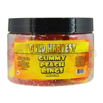 Gold Harvest CBD Gummy Jar 1000mg Peach Rings