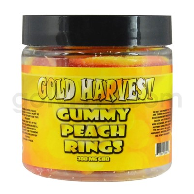 Gold Harvest CBD Gummy Jar 300mg Peach Rings