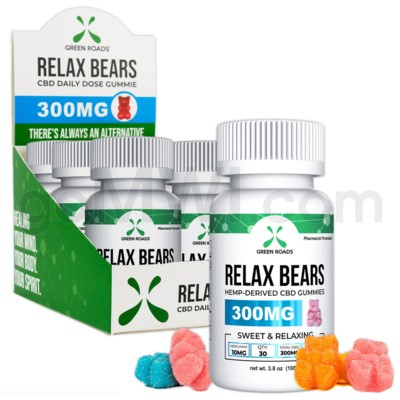 Green Roads CBD Edible 300mg 30ct Relax Bear Gummies 6PC/BX