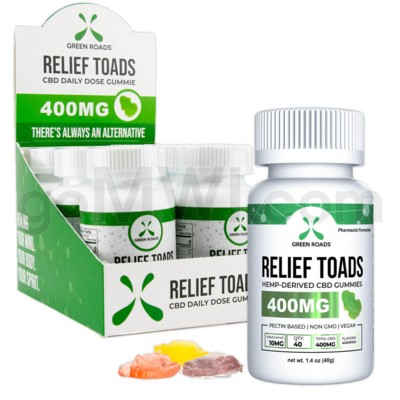 Green Roads CBD Edible 400mg 40ct Relief Toad Gummies 6PC/BX