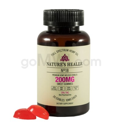 Nature's Healer CBD Edible 200mg (20pc/10mg ea) Sweet Gummies