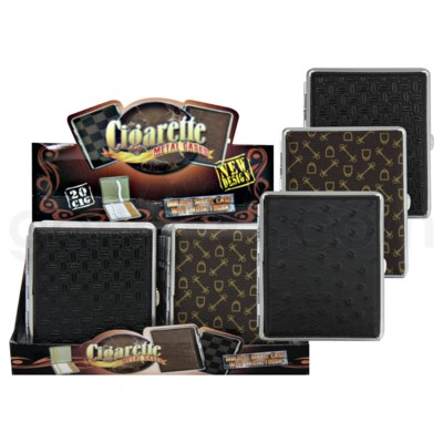DISC Cigarette Case 100 mm Leather Assorted 12PC/BX