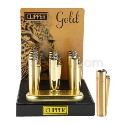 Clipper Full Metal Gold Flint Lighter Display 12CT/BX