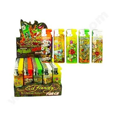 DISC Ed Hardy Refillable TORCH Lighter series A 50CT/BX