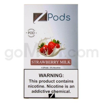 ZPods (ZiiP Lab) Nic-Salt E-Juice 1ml 5% 4ct -Strawberry Mil