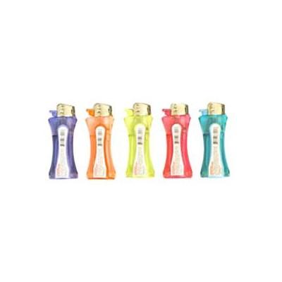 DISC Lighter Mini Curve Clip Elec. Transparent  45PC/BX 10/c
