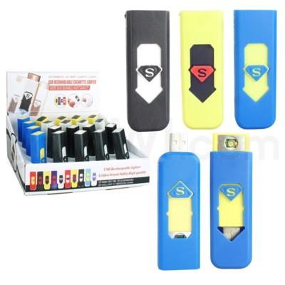 DISC Electronic Lighter USB Asst. Colors 20CT/BX