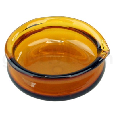 Glass Receptacle Oil Dish-Amber