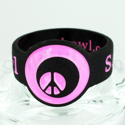Save-A-Bowl Silicone Band Wrap Peace Glass - Black/Pink