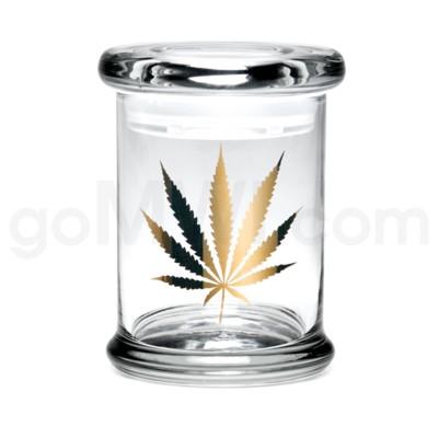Glass Jar 420 Pop-Top 1/2oz-Gold Leaf