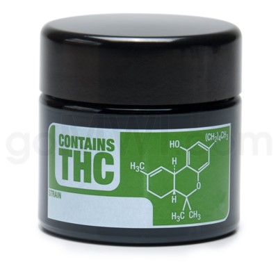 Glass Jar 420 UV Screw Top 1/4oz-THC Write & Erase