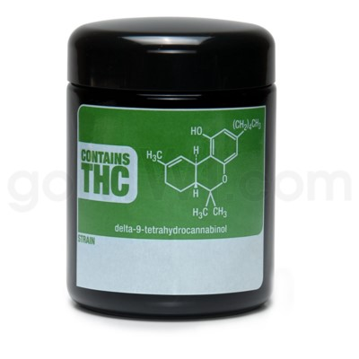 Glass Jar 420 UV Screw Top 1/2oz-THC Write & Erase