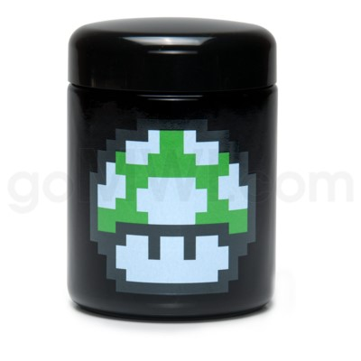 Glass Jar 420 UV Screw Top 1/2oz-1-Up Mushroom