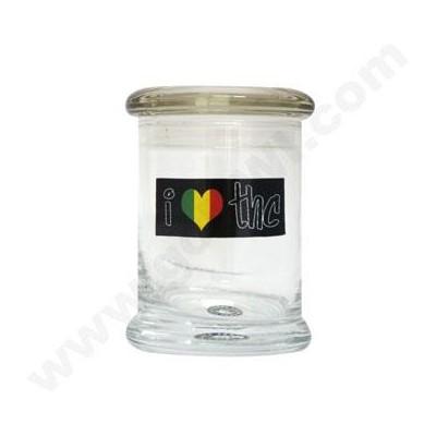 DISC Glass Cali Jar Grande  I Luv THC 1/2 oz.