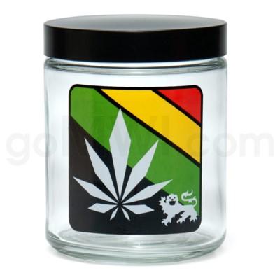 Glass Jar 420 Screw Top 1/4oz-Rasta Leaf