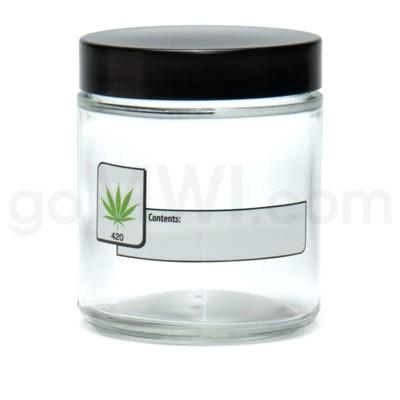 Glass Jar 420 Screw Top 1/4oz-Leaf Write & Erase