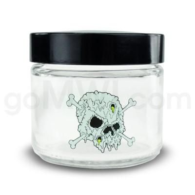 Glass Jar 420 Screw Top 1/8oz Skull & Bones