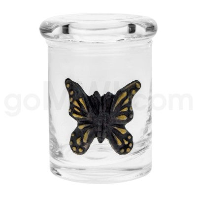 DISC Glass Jar Polyresin Clear - Butterfly