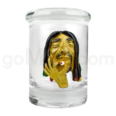 DISC Glass Jar Polyresin Clear - Rasta Man
