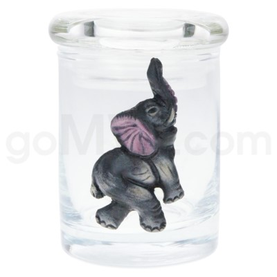 DISC Glass Jar Polyresin Clear - Elephant