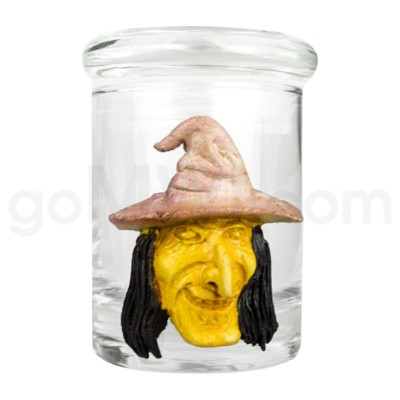 DISC Glass Jar Polyresin Clear - Witch