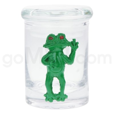 DISC Glass Jar Polyresin Clear - Frog