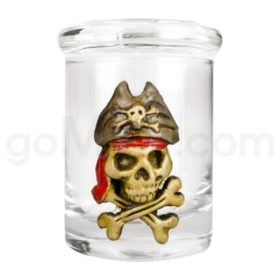 DISC Glass Jar Polyresin Clear - Skeleton Pirate