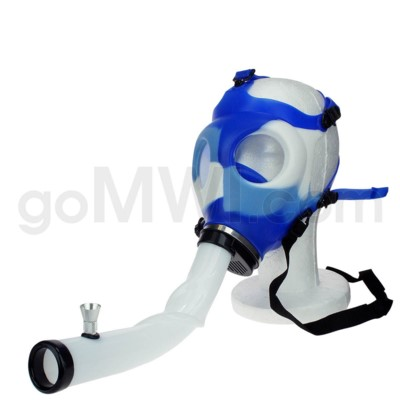Gas Mask w/ Open Ended Curve Steamroller- Blue & White