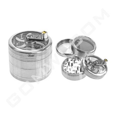 Uber Grinder 4 pc CNC Clear Top & Hand Crank 62mm 2.5