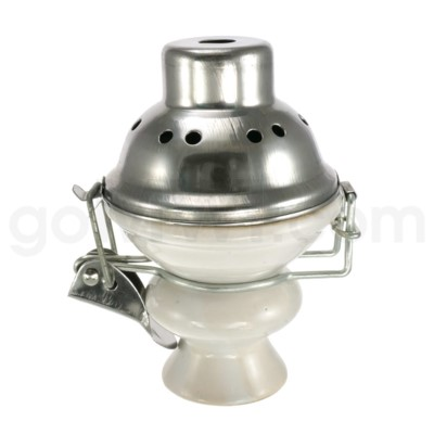 Hookah Ceramic Top with Screen and Wind Protector White